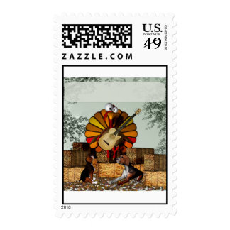 Turkey Acoustic Guitar Hay bale Thanksgiving Postage Stamps