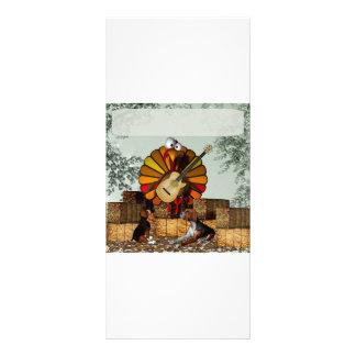 Turkey Acoustic Guitar Hay bale Thanksgiving Rack Card Design
