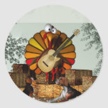 Turkey Acoustic Guitar Hay bale Thanksgiving Classic Round Sticker