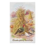 Turkey and Flock of Chickens Vintage Thanksgiving Poster
