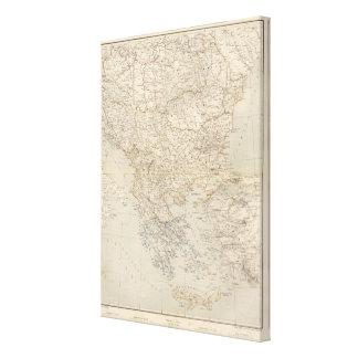 Turkey and Greece Atlas Map Canvas Print
