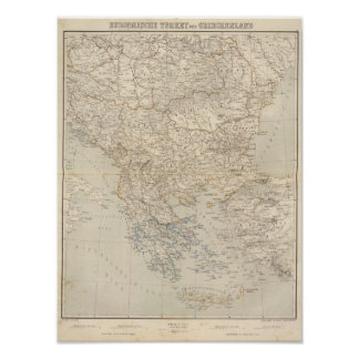 Turkey and Greece Atlas Map Poster