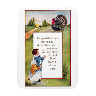 Turkey and Kids Vintage Thanksgiving Rectangle Magnets