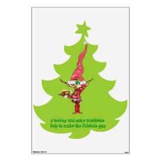 turkey and mistletoe elf wall sticker
