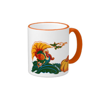Turkey and Pumpkin .Thanksgiving Gift Ringer Coffee Mug