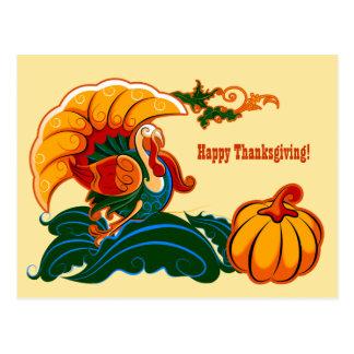 Turkey and Pumpkin Thanksgiving Postcards