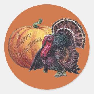 Turkey and Pumpkin Vintage Thanksgiving Round Sticker