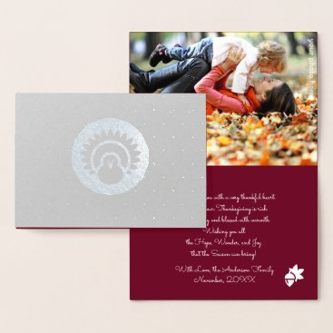Professional Business Turkey & Autumn Pattern Thanksgiving Photocards Foil Card