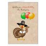 Turkey, Balloons, Thanksgiving Birthday Card