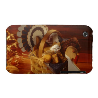 Turkey basket  with muffins and cookies Case-Mate iPhone 3 cases