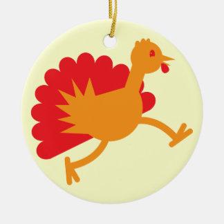 Turkey bird on the run! Double-Sided ceramic round christmas ornament