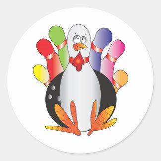 Turkey Bowl Round Stickers