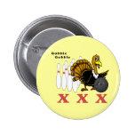 Turkey Bowling Pinback Button