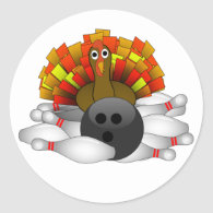 Turkey - Bowling Strike Classic Round Sticker