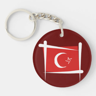 Turkey Brush Flag Keychain