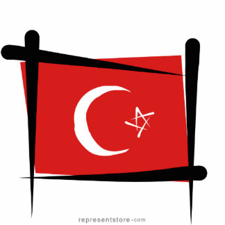 Turkey Brush Flag Statuette