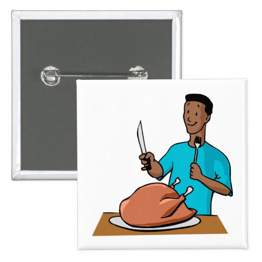 Turkey Carving 2 Inch Square Button