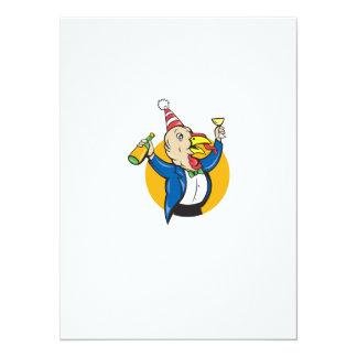 Turkey Celebrating Wine Party Hat Cartoon 5.5x7.5 Paper Invitation Card
