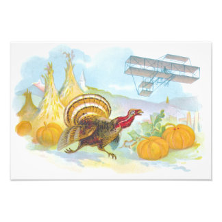Turkey Chasing An Airplane In A Field Photo Print