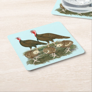 Turkey Chocolate Family Square Paper Coaster