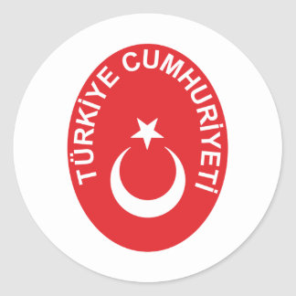 Turkey coat of arms classic round sticker