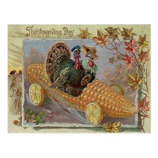 Turkey Couple Corn Car Fall Leaves Postcard