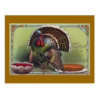 Turkey, Cranberry Sauce & Pumpkin Pie Thanksgiving Postcard