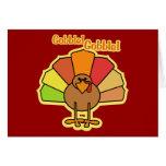 Turkey Cute Cartoon Gobble Thanksgiving Design Greeting Cards