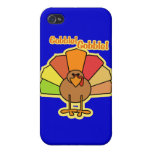 Turkey Cute Cartoon Gobble Thanksgiving Design iPhone 4 Covers