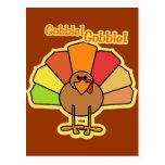 Turkey Cute Cartoon Gobble Thanksgiving Design Postcards