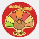 Turkey Cute Cartoon Gobble Thanksgiving Design Sticker