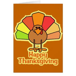Turkey Cute Cartoon Happy Thanksgiving Design Card
