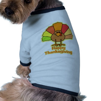 Turkey Cute Cartoon Happy Thanksgiving Design Doggie Shirt