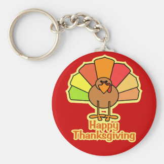 Turkey Cute Cartoon Happy Thanksgiving Design Keychain
