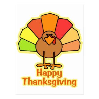 Turkey Cute Cartoon Happy Thanksgiving Design Postcard