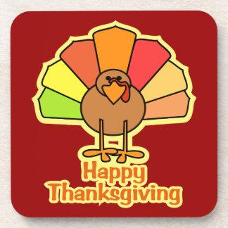 Turkey Cute Cartoon Thanksgiving Design Beverage Coaster