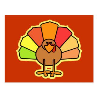 Turkey Cute Cartoon Thanksgiving Design Post Cards