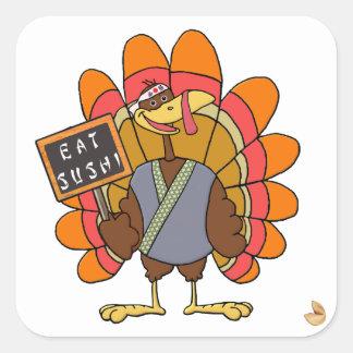 Turkey day Eat Sushi Square Sticker