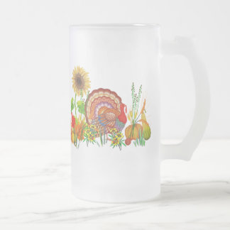 Turkey Day Frosted Glass Beer Mug
