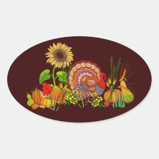Turkey Day Oval Sticker