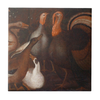Turkey Ducks and one pigeon Thanksgiving Tile
