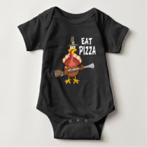 Turkey Eat Pizza Funny Thanksgiving Vegan Baby Bodysuit
