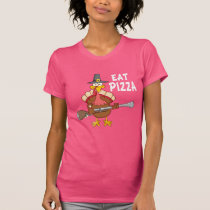 Turkey Eat Pizza Funny Thanksgiving Vegan T-Shirt