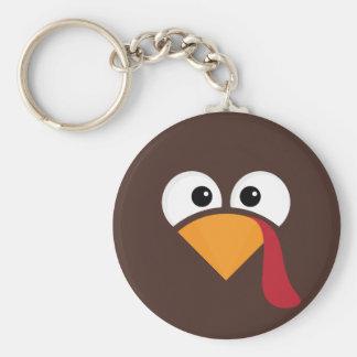 Turkey Face Heart Thanksgiving Keychain