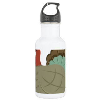 Turkey Fall Leaf Autumn Acorn Thanksgiving Stainless Steel Water Bottle