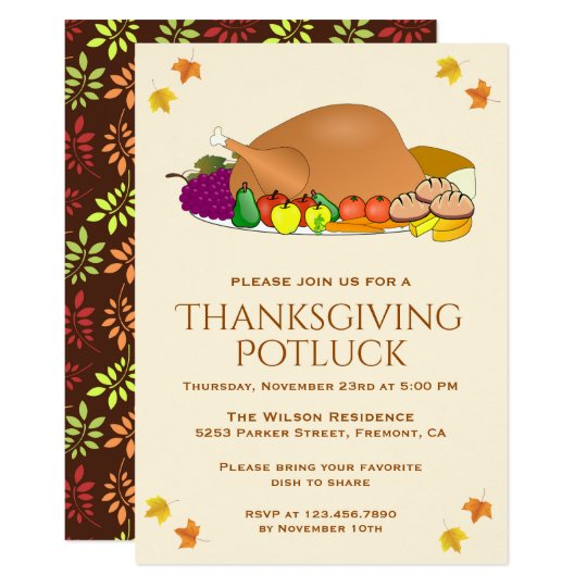 Thanksgiving potluck invitations zazzle turkey feast thanksgiving potluck invitation stopboris Gallery