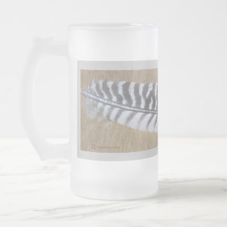 TURKEY FEATHER ON A FROSTED MUG