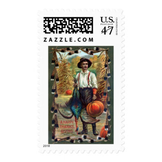 Turkey, Feathers and Farmer Vintage Thanksgiving Postage