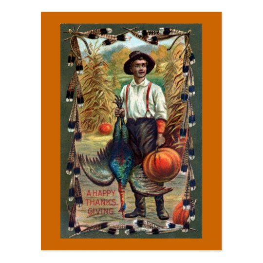 Turkey, Feathers and Farmer Vintage Thanksgiving Postcard