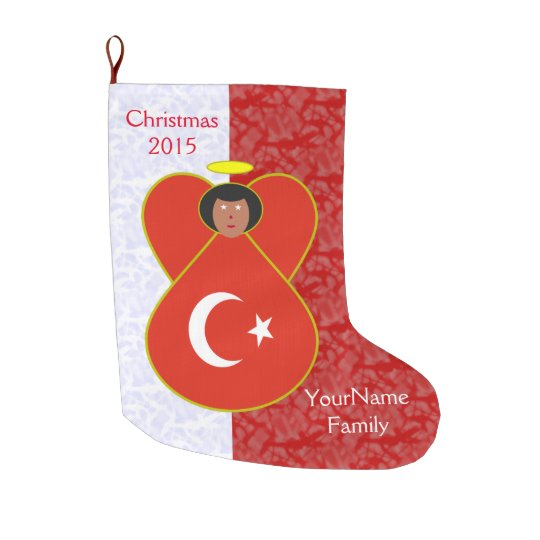 turkey flag angel red white large christmas stocking - Large Christmas Stockings